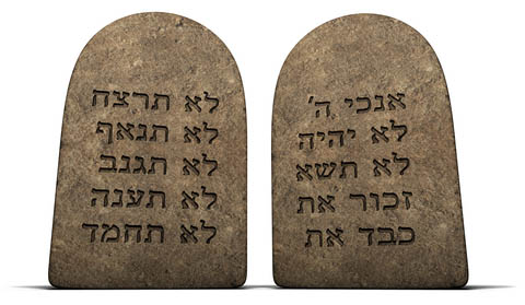 The ten commandments given to Moses on Mount Sinai