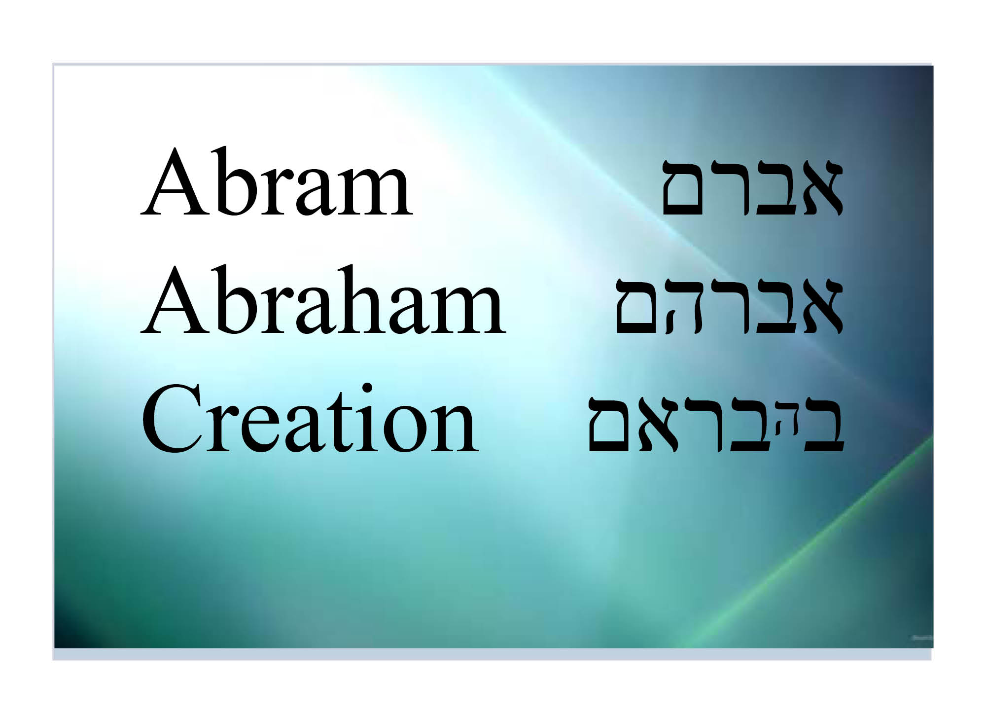 Abraham and creation from the  Zohar