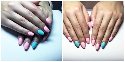 Gelové nehty - růžové a modré