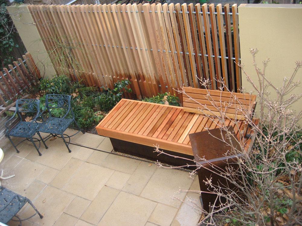 fence vertical slats redwood