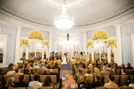 Georgian columns, a domed ceiling and Wedgwood-blue and filigree walls at the Amway Grand Plaza provided a resplendent backdrop for the ceremony.