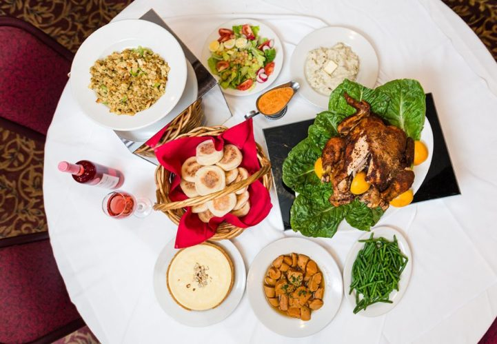 """""""From our oven to your fine china!"""" Caryout includes: 10-14 pound turkey, 2.5 pounds candied yams and green beens, 1 pie, dozen dinner roles, 2.5 pounds stuffing, big bowl mixed salad, mashed potatoes and gravy for $130, serves 6-8 people."""