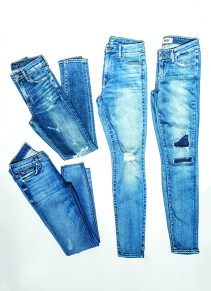 Skinny with rip: (top) Citizens of Humanity, Rocket, $249; (bottom) Hudson, Krista, $209; 7 For All Mankind, High Waist Skinny, $210; and Paige, Verdugo Skinny, $259, available at Rear Ends.