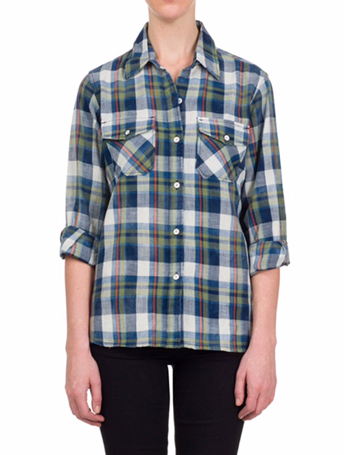 Couple an on-trend plaid shirt from Current/Elliott, $198, with your favorite pair of jeans from SHE boutique.