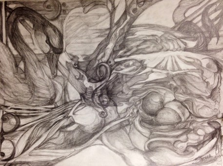 "Susan Langan, ""The Awakening."" Graphite, 17 x 25"