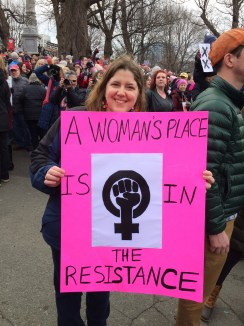 Former Malden community member Alisa Carbone joins some Malden friends at the march.