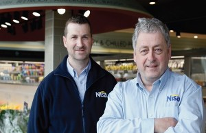 Tom McAvoy (right) with produce manager, William Owens