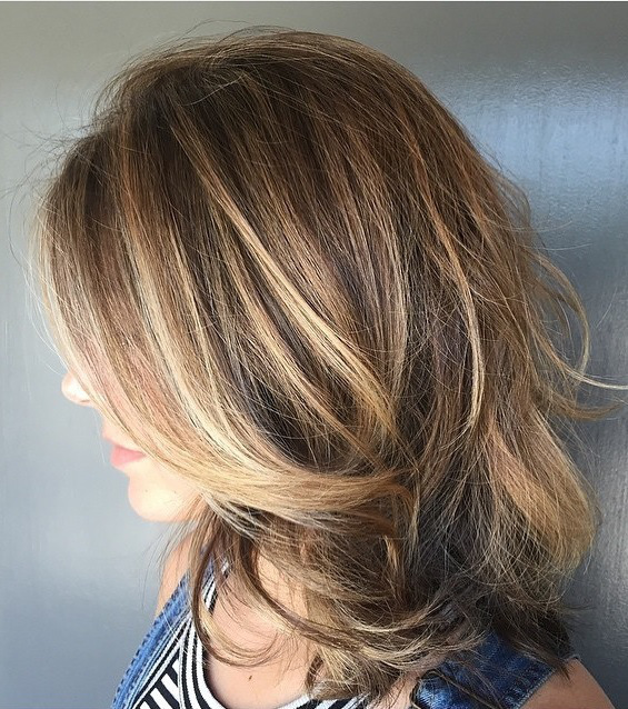 brunette highlights and long layers
