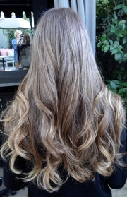 medium brunette with golden highlights