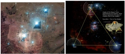 Belt stars of Orion and the 3 stones