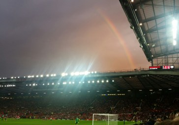 The rainbow seemed quite apt for the first game of this new era at Old Trafford.