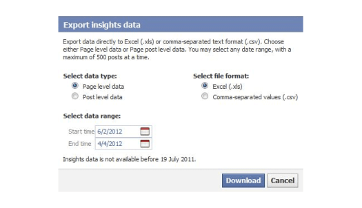 exporting facebook insights data