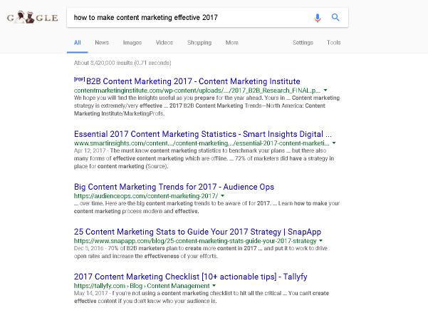 Content Marketing meta tag titles examples