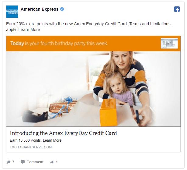 american express retargeting ad example