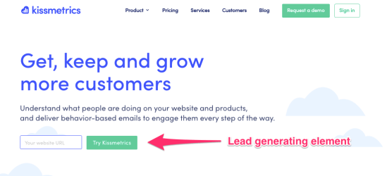 Example landing page to improve funnel conversions