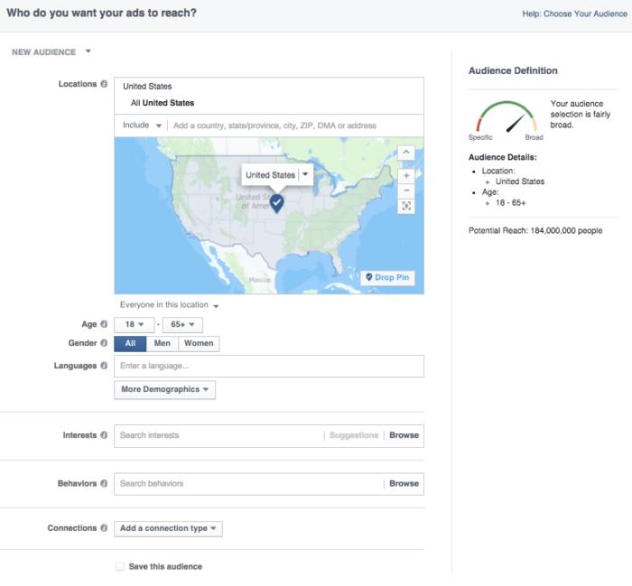 social media marketing facebook ad targeting screenshot