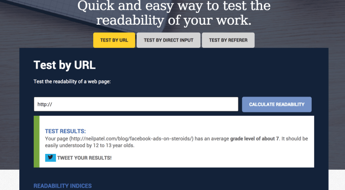 Readability Test Results for neilpatel com blog facebook ads on steroids