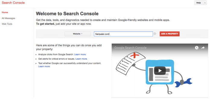 Search Console Home