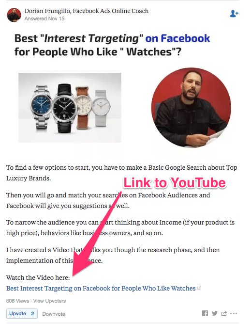 What are the best interests to use on Facebook ads for watches Quora
