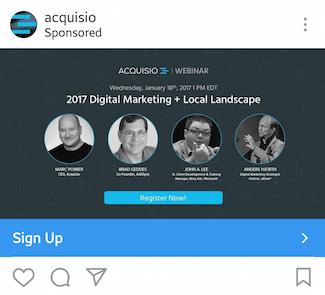 instagram landing page acquisio ad