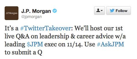 jpmorgan twitter launch tweet