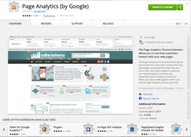 Page Analytics by Google for bounce rate