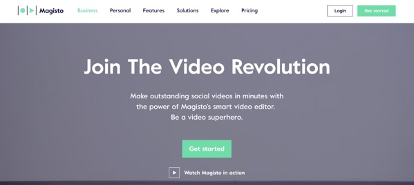 magisto homepage in 2018