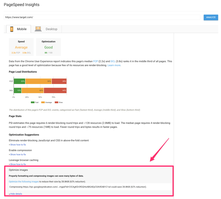 pagespeed insights 1