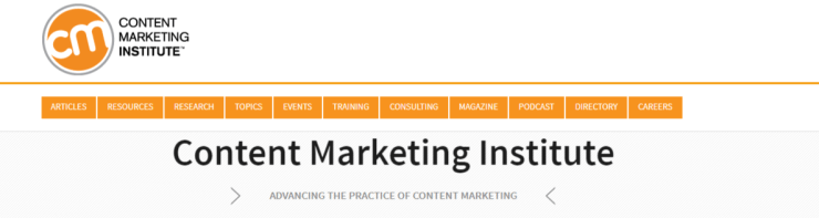 content marketing institute homepage in 2018