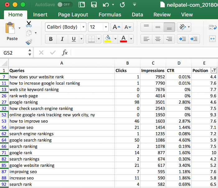 excel filter results
