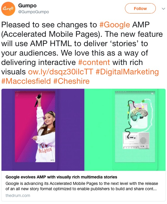 Gump Web Marketing AMP tweet