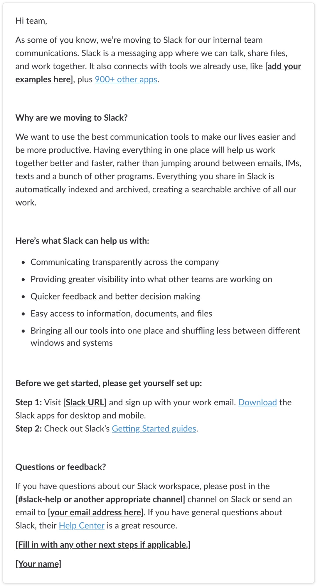 moving to Slack