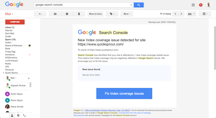 search console error
