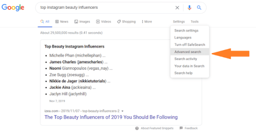 advanced search for instagram influencers