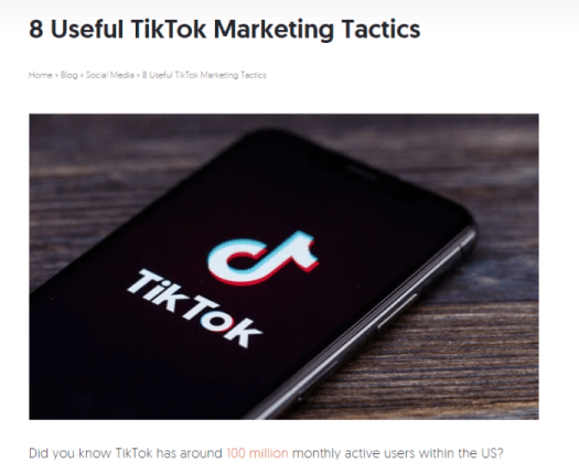Listicle on how to use TikTok in marketing