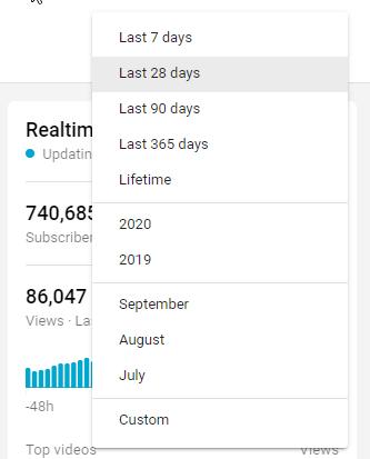 date range period youtube analytics