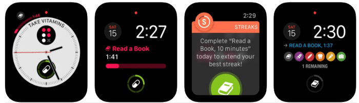 A screenshot of the Streaks app for the Apple Watch