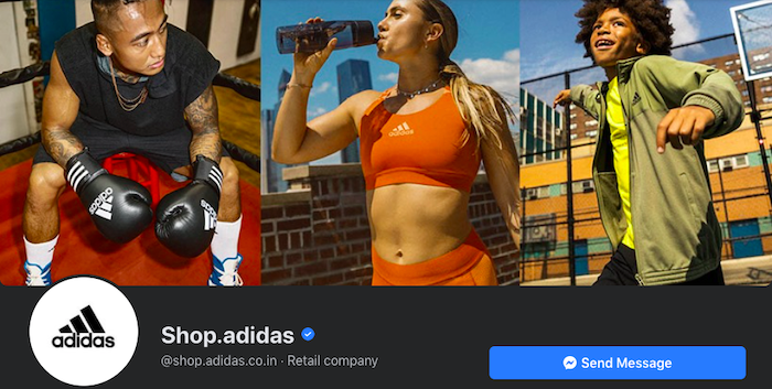 Adidas Store Facebook cover photo complements its brand