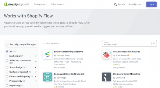 E commerce automation Shopify's App store list of apps that work with Shopify Flow
