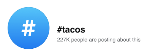 Top Hashtags Facebook view of the popular hashtag Tacos