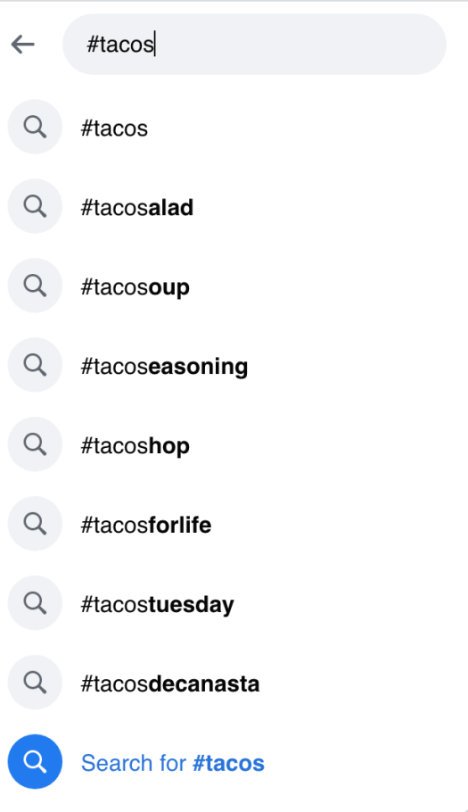 Top Hasthags Facebook providing alternatives to the popular hashtag Tacos