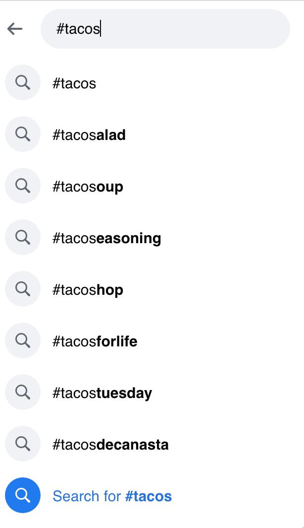 Top Hasthags Facebook providing alternatives to the popular hashtag Tacos