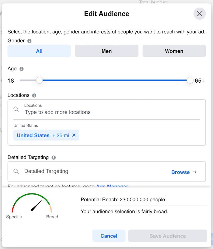Using Facebook Top Hashtags Screenshot of Facebook ad target market options