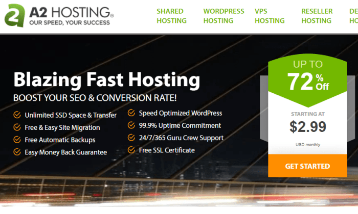 A2 Hosting main page for Best Cheap Web Hosting