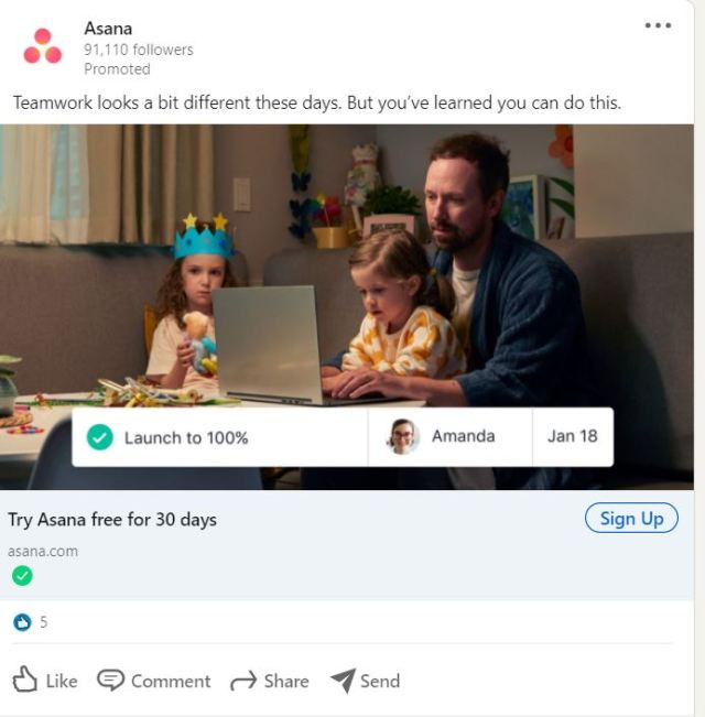 LinkedIn Advertising Ideas - Make Your Ads Topical, like Asana
