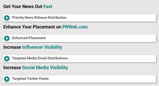 PR sites - PRWeb extra features