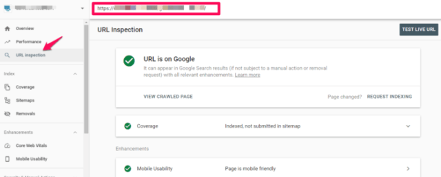 URL inspection google search console