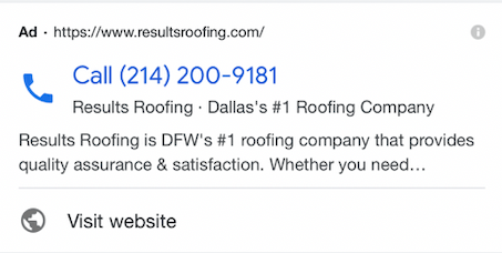 Google Call-Only Ads - Example of Dallas roofer