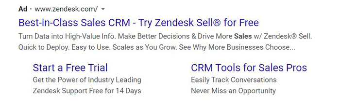 evergreen PPC ads - zendesk sell