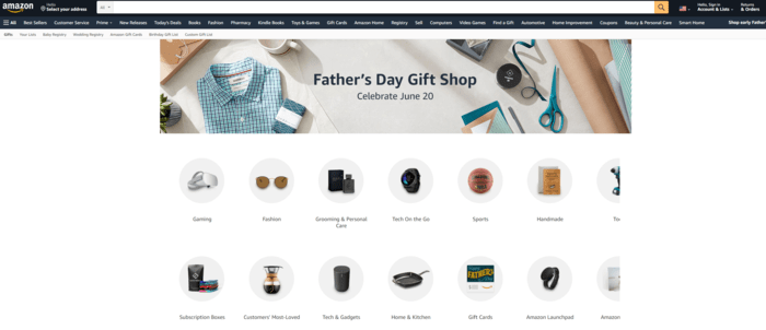 E-commerce Father's Day Sales Examples - Amazon